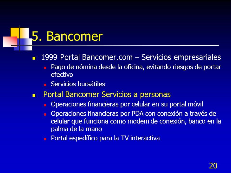 20 5. Bancomer 1999 Portal Bancomer.com – Servicios empresariales Pago de nómina desde la oficina, evitando riesgos de portar efectivo Servicios bursá