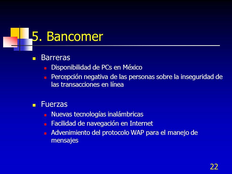 22 5. Bancomer Barreras Disponibilidad de PCs en México Percepción negativa de las personas sobre la inseguridad de las transacciones en línea Fuerzas