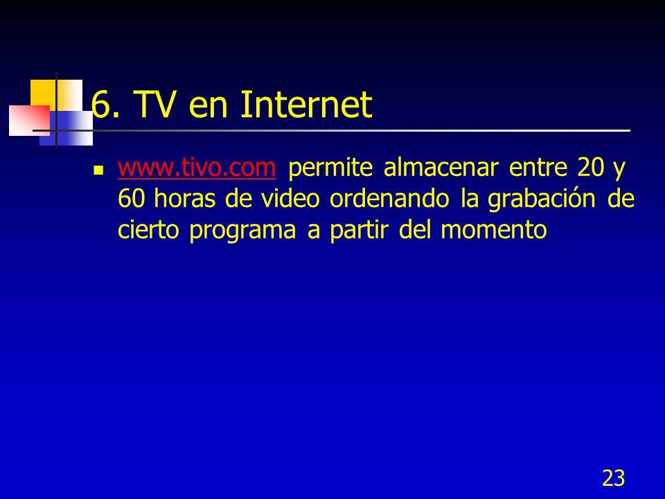 23 6. TV en Internet www.tivo.com permite almacenar entre 20 y 60 horas de video ordenando la grabación de cierto programa a partir del momento www.ti