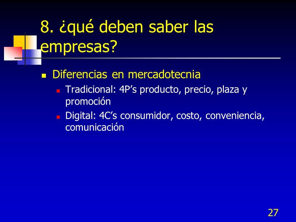 27 8. ¿qué deben saber las empresas? Diferencias en mercadotecnia Tradicional: 4Ps producto, precio, plaza y promoción Digital: 4Cs consumidor, costo,