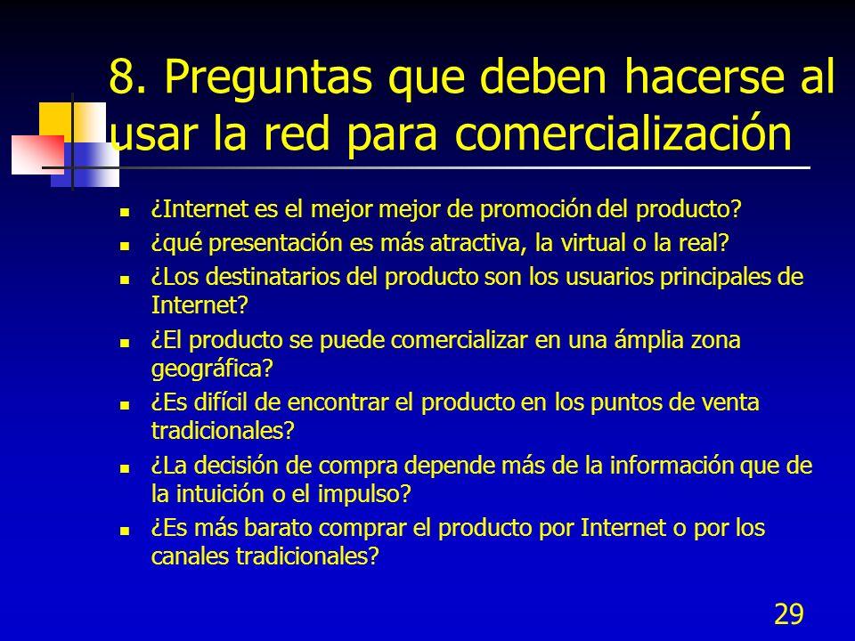 29 8. Preguntas que deben hacerse al usar la red para comercialización ¿Internet es el mejor mejor de promoción del producto? ¿qué presentación es más