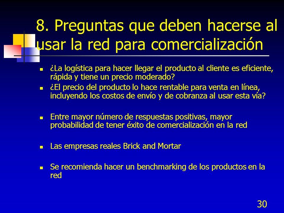 30 8. Preguntas que deben hacerse al usar la red para comercialización ¿La logística para hacer llegar el producto al cliente es eficiente, rápida y t