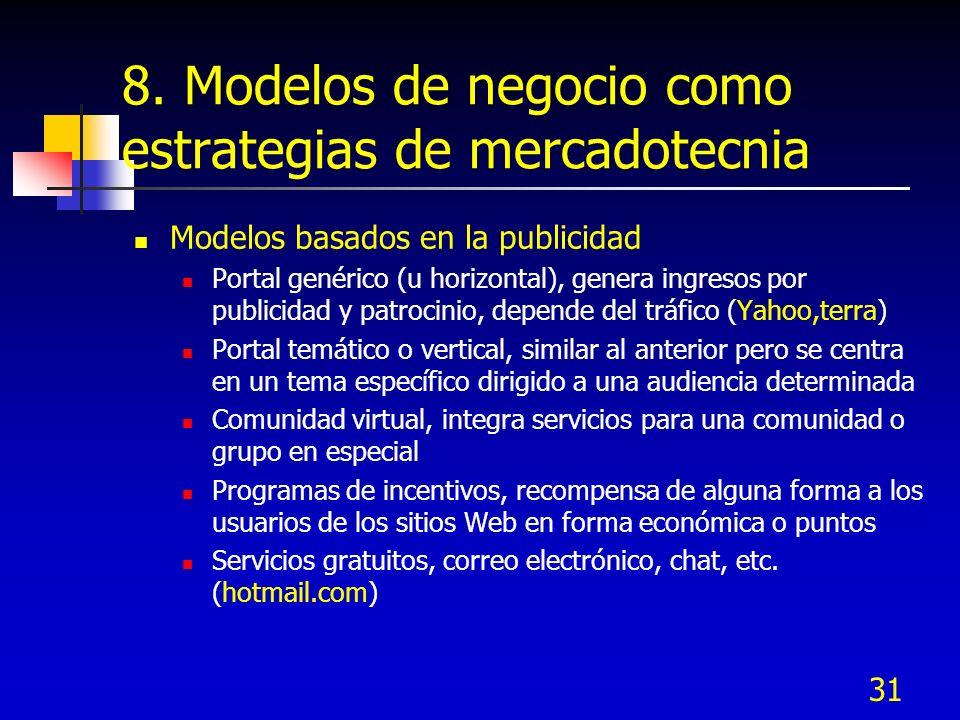 31 8. Modelos de negocio como estrategias de mercadotecnia Modelos basados en la publicidad Portal genérico (u horizontal), genera ingresos por public