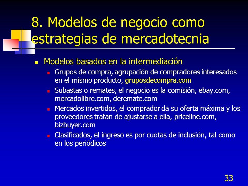 33 8. Modelos de negocio como estrategias de mercadotecnia Modelos basados en la intermediación Grupos de compra, agrupación de compradores interesado