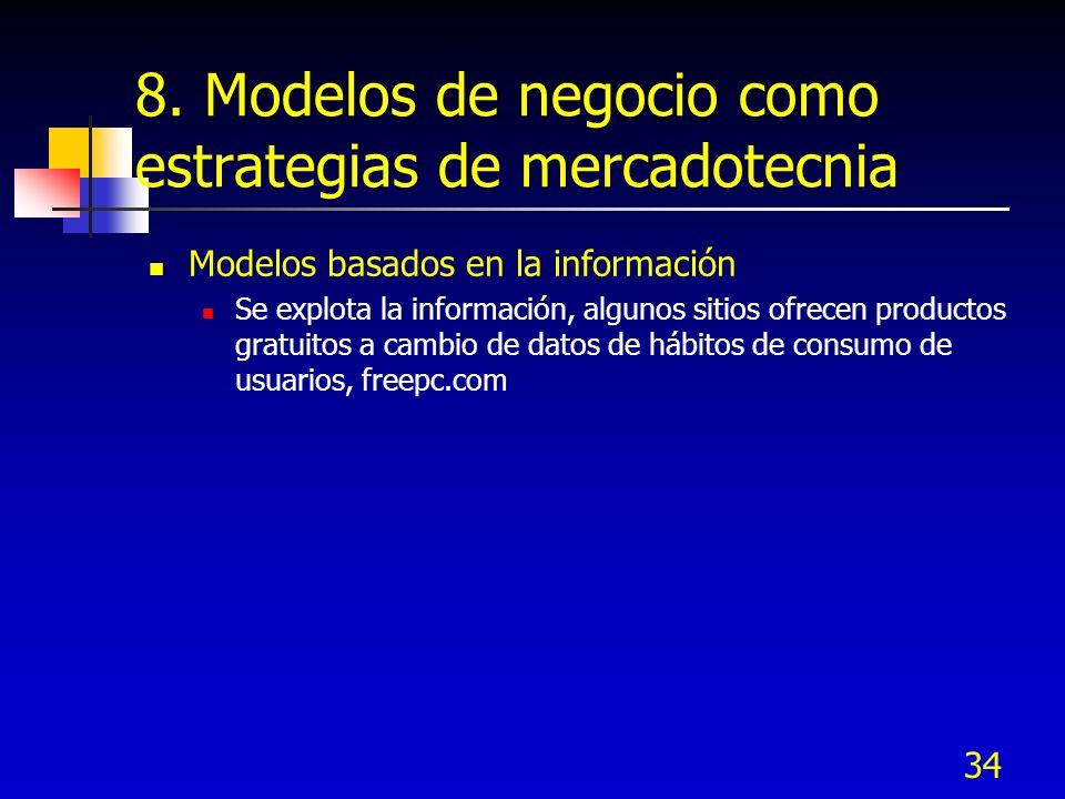 34 8. Modelos de negocio como estrategias de mercadotecnia Modelos basados en la información Se explota la información, algunos sitios ofrecen product