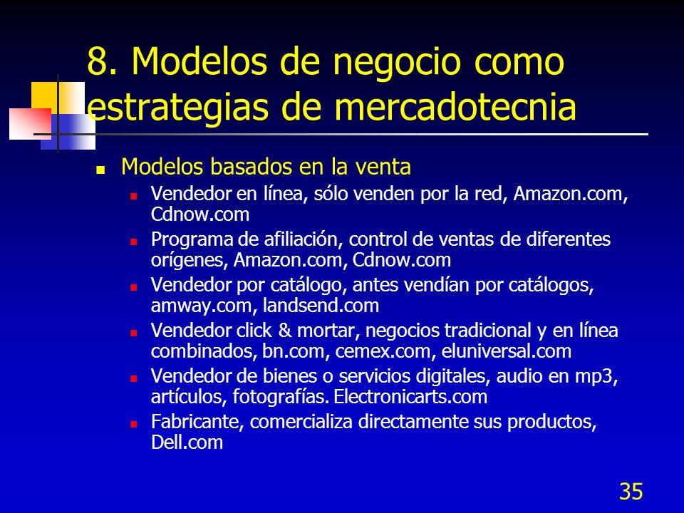35 8. Modelos de negocio como estrategias de mercadotecnia Modelos basados en la venta Vendedor en línea, sólo venden por la red, Amazon.com, Cdnow.co