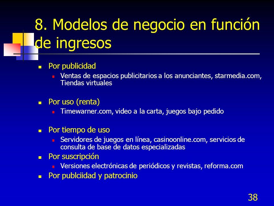 38 8. Modelos de negocio en función de ingresos Por publicidad Ventas de espacios publicitarios a los anunciantes, starmedia.com, Tiendas virtuales Po