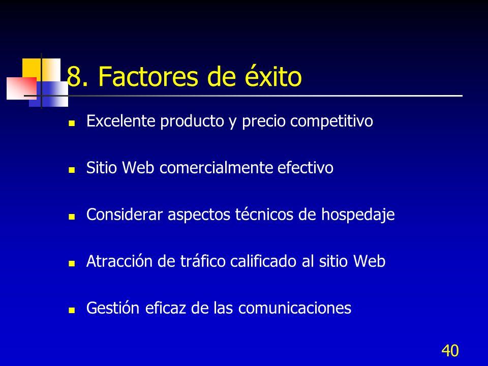 40 8. Factores de éxito Excelente producto y precio competitivo Sitio Web comercialmente efectivo Considerar aspectos técnicos de hospedaje Atracción