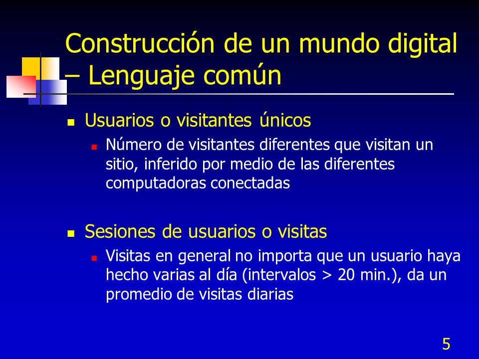 5 Construcción de un mundo digital – Lenguaje común Usuarios o visitantes únicos Número de visitantes diferentes que visitan un sitio, inferido por me