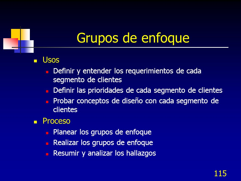 116 Planear los grupos de enfoque 1.