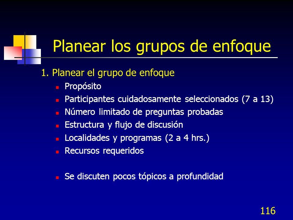 117 Planear los grupos de enfoque 2.