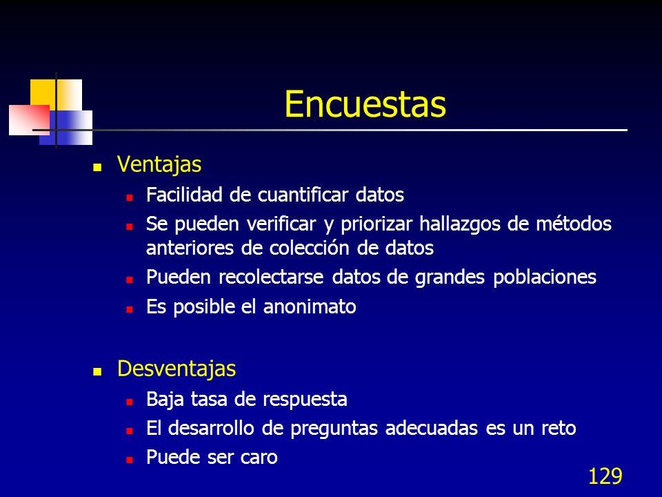 130 Lista de verificación de encuestas ¿Cuáles son los objetivos.