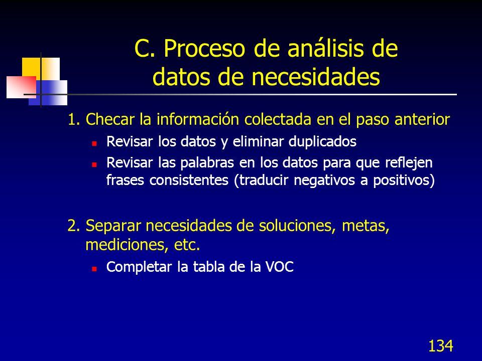 135 C.Proceso de análisis de datos de necesidades 3.
