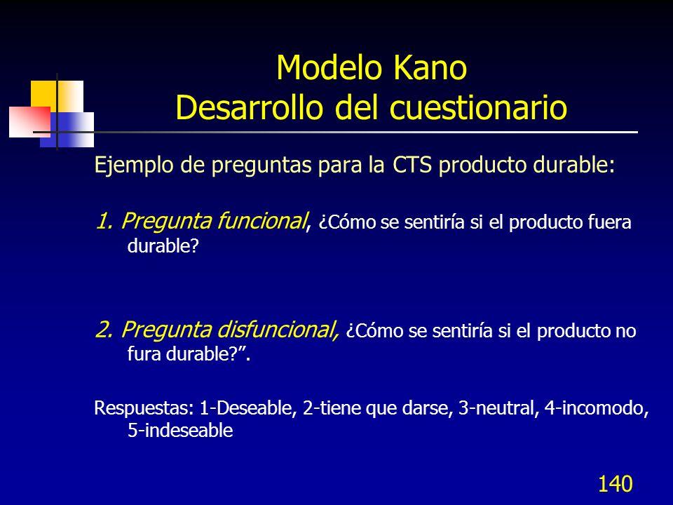 141 Modelo Kano Probar el cuestionario El cuestionario de Kano, debe ser entendible (con preguntas afirmativas y negativas).