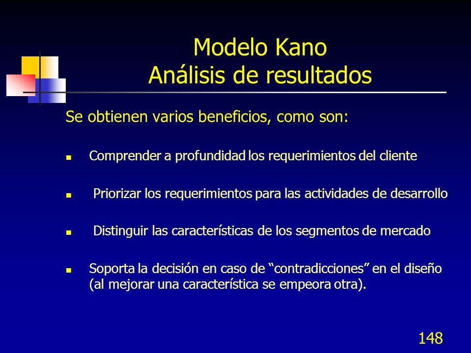 149 Modelo Kano Análisis de resultados Recomendaciones para el diseño: Cumplir con todos los requerimientos Debe-ser (M) Competir con los líderes del mercado en las características Uni-dimensionales (O) Incluir algunos elementos Atractivos (A) para diferenciarse.