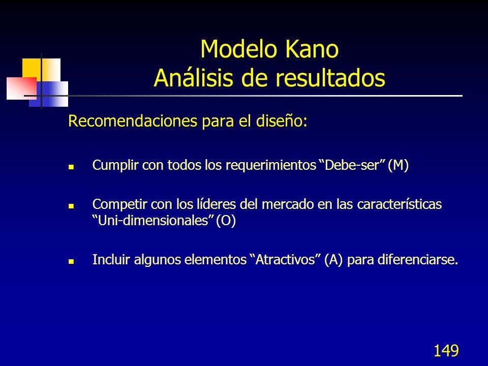 150 Modelo Kano Priorizar necesidades (CTSs) Recomendaciones para el diseño: El orden de impacto ó importancia de los requerimientos es M > O > A > I, esto signifique que las más importantes son las Debe-ser (M) y la menos importante es la Indiferente (I).