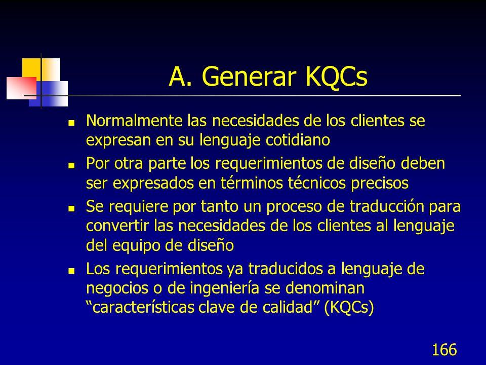 167 Elementos de KQC Un KQC debe tener los elementos siguientes: Una característica de calidad que especifica como se cumplirá con la necesidad del cliente por el producto o servicio Una medición cuantitativa para el desempeño de la característica de calidad Un valor meta que representa el nivel deseado de desempeño de la característica Límites de especificación que serán toleradas por los clientes Pueden haber varias KQCs para cada necesidad (1-3)