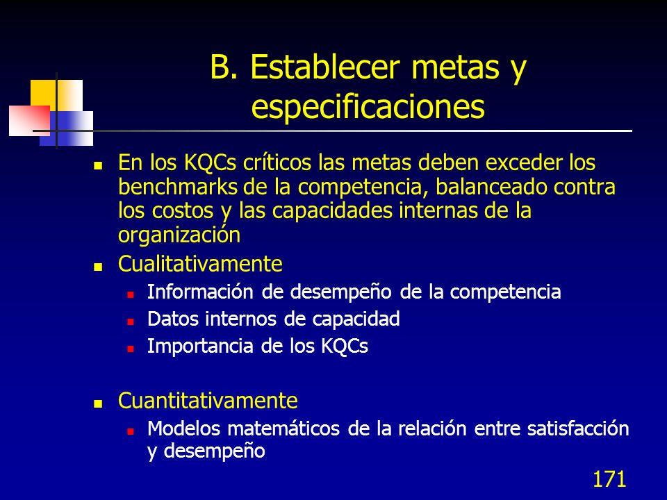 172 Estableciendo metas de desempeño Desempeño Satisfacción Desempeño de la competencia Desempeño Satisfacción KQC 1 KQC 2 Los esfuerzos de mayor Desempeño son más benéficos para 1 que para 2