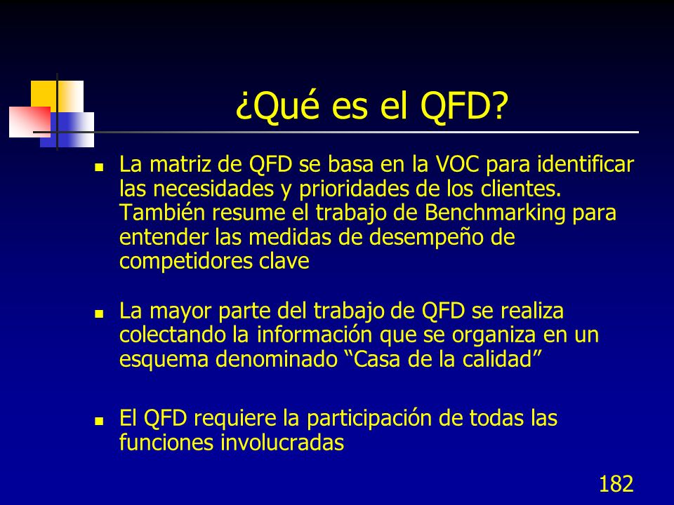 183 La Casa de la calidad Comparación Competitiva (B)(V) Importancia Del cliente (V) Medidas (COMOs) (B)(V) Req.