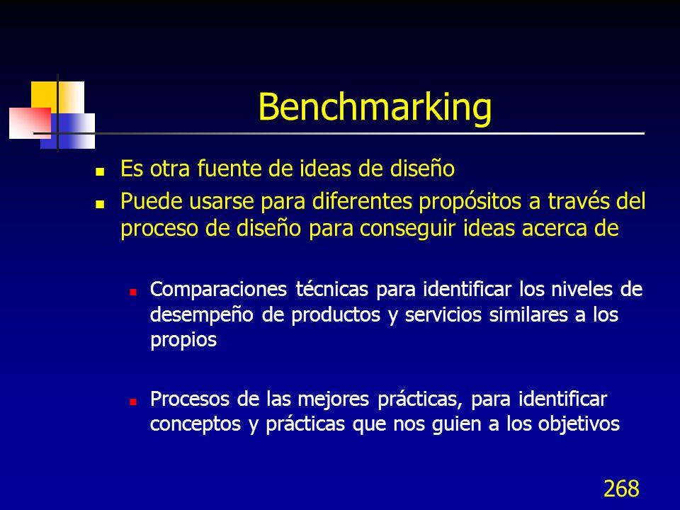269 Tipos de Benchmarking Benchmarking de desempeño En el paso 2 pudo haberse hecho Benchmarking para comparaciones técnicas para ver que tan bien los competidores cumplen con los requerimientos del cliente Benchmarking de proceso En el paso 3, se hizo Benchmarking para ver las mejores prácticas de cómo las organizaciones proporcionan sus productos o servicios Las mejores prácticas de otras organizaciones proporcionan ideas de conceptos en esta etapa del diseño