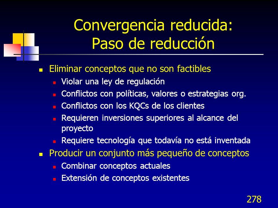 279 Evaluando conceptos Usar convergencia controlada para tener 5 a 6 conceptos Evaluar los conceptos restantes más formalmente Evaluar los conceptos basados en su capacidad para satisfacer KQCs Requerimientos clave del negocio Requerimientos adicionales que pueden influir en la capacidad para implementar el diseño