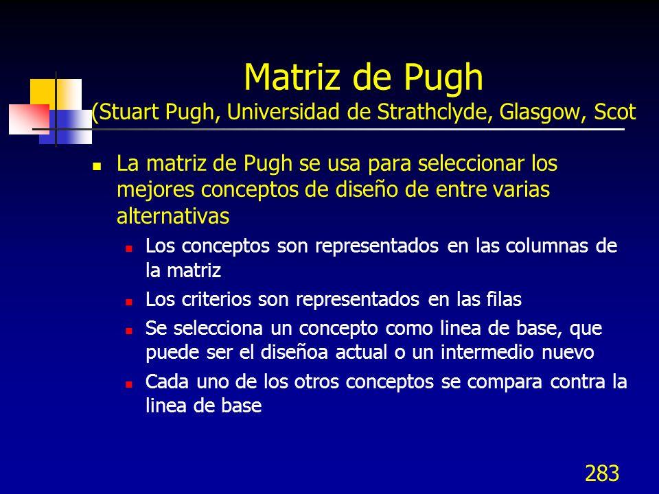 284 Matriz de Pugh Las matrices comparan alternativas de conceptos contra objetivos considerándolos simultaneamente y ponderados en importancia.