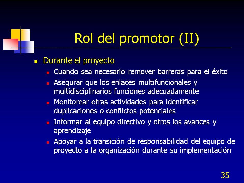 36 Rol del promotor (III) Después del proyecto Celebrar la conclusión del proyecto Asegurar que los diseños sean implementados Asegurar que los resultados del proyecto sean cuantificados y documentados Asegurar el monitoreo continuo de procesos y mediciones clave Preservar y aplicar las lecciones aprendidas