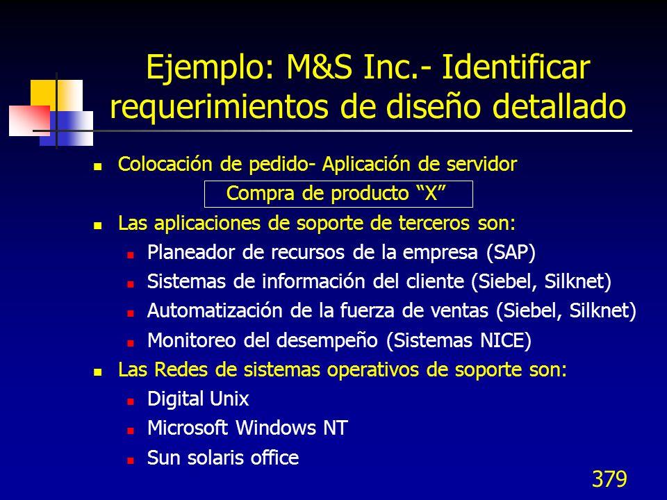 380 (continuación) Switch: Siemens Hicom Lucent 5ESS Nortel DMS 100 Los Estándares de integración de soporte de escritorio son: ActiveX DDE TAPI CORBA Java OLE Ejemplo: M&S Inc.- Identificar requerimientos de diseño detallado