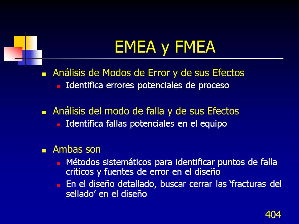 405 Beneficios del EMEA y FMEA Sus beneficios son Identificar situaciones donde puedan ocurrir las fallas y errores Realizar análisis del peor caso o caso especial Realizar cambios de diseño o planes de contingencia