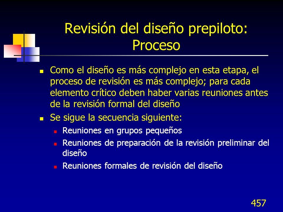 458 Revisión del diseño prepiloto Juntas Del equipo Revisión final del prepiloto Juntas de rev.