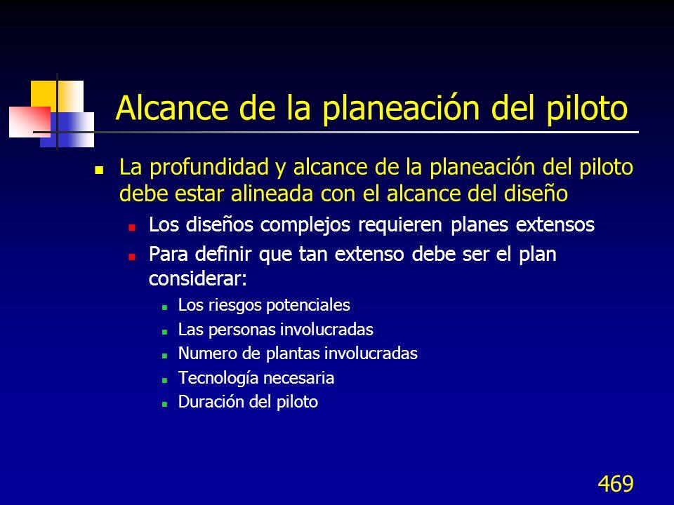 470 Logística del plan piloto Desarrollar un plan de trabajo y programa para decidir e implementar lo siguiente: Qué...
