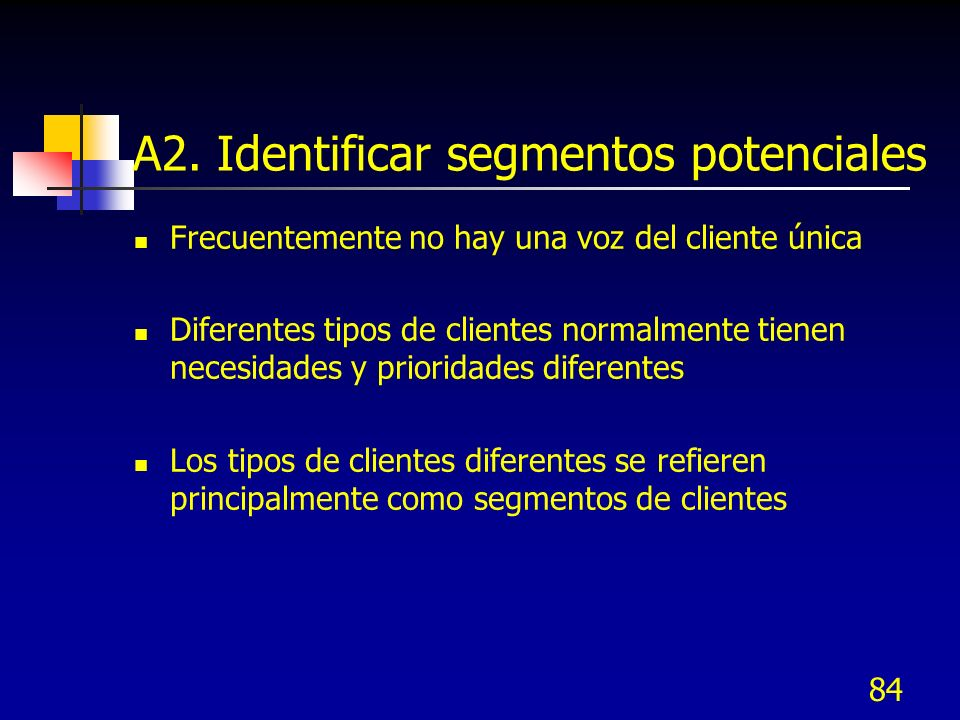 85 Determinar viabilidad de segmentación Contestar las preguntas siguientes: ¿Pueden clasificarse a los clientes en orden de importancia.