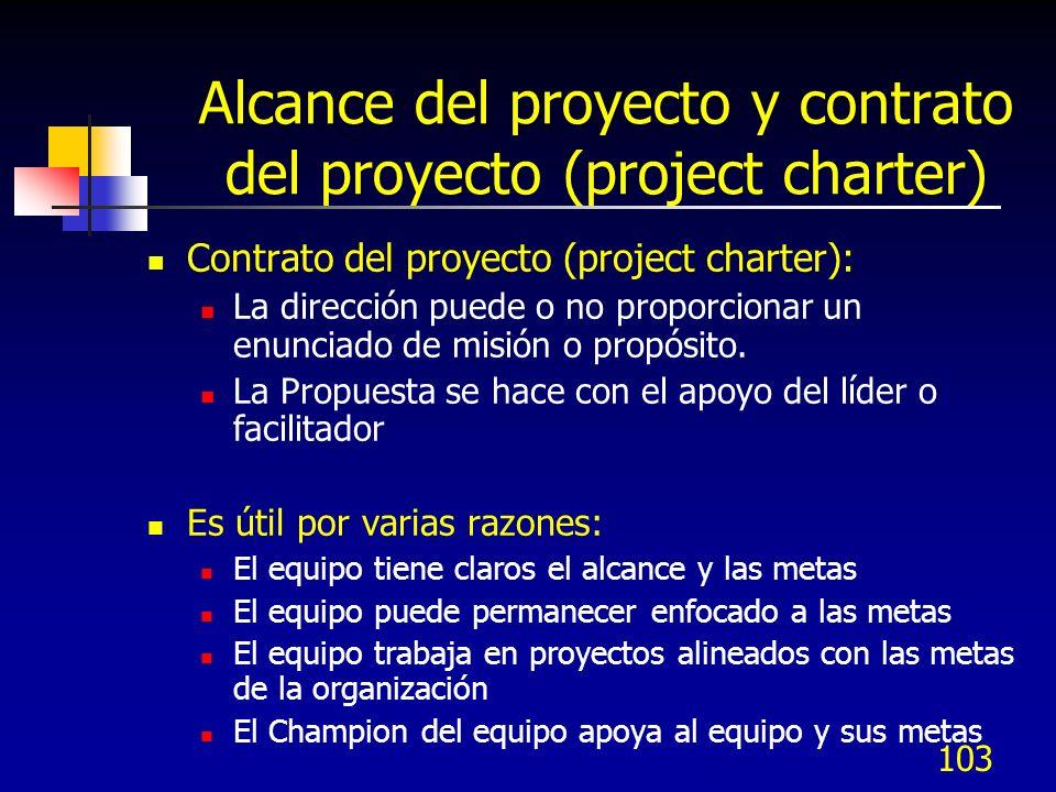 102 Alcance del proyecto y contrato del proyecto (project charter) Alcance del proyecto: la definición del problema es la parte más importante para re