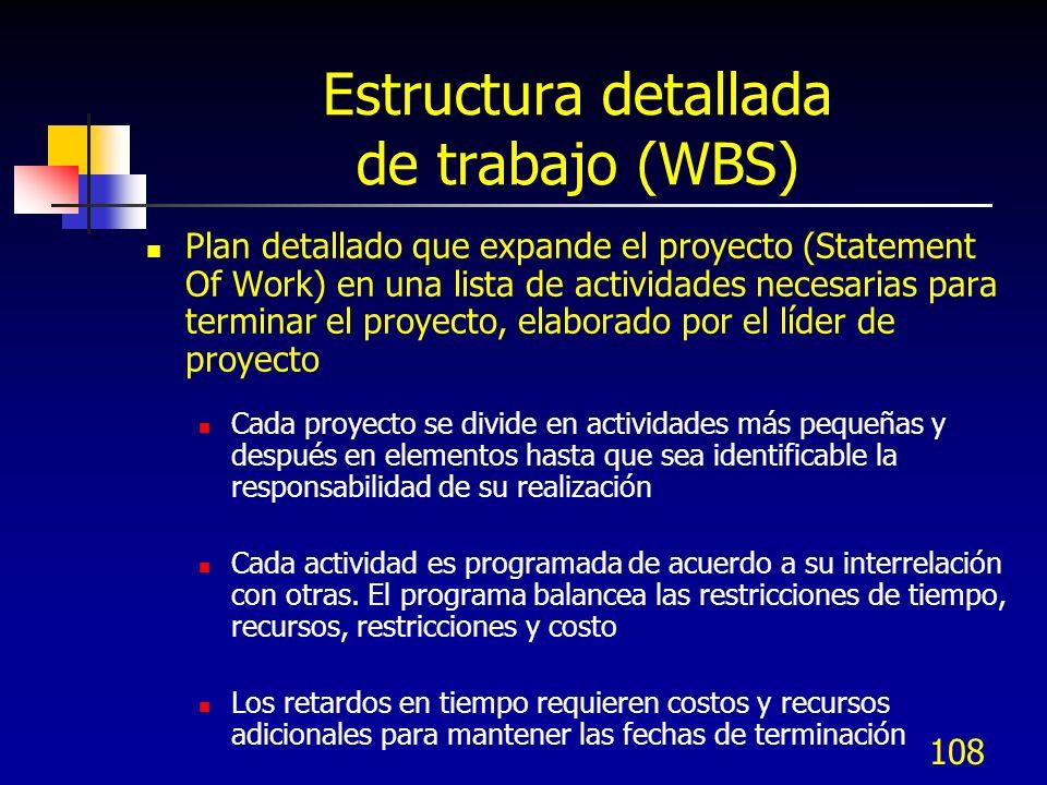 107 Elementos del Plan del proyecto Los elementos clave del proyecto son: Identificar límites de programación Asignación de responsabilidades funciona