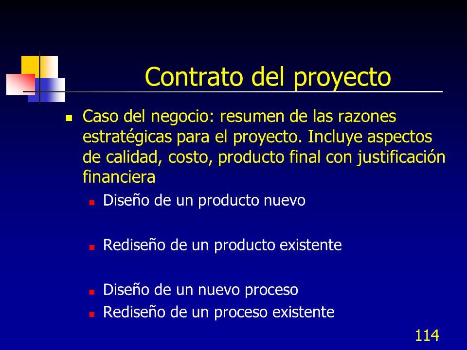 113 Contrato del proyecto El contrato del proyecto (Project Cahrter) debe incluir: Caso de negocio (impacto financiero) Enunciado del problema Alcance