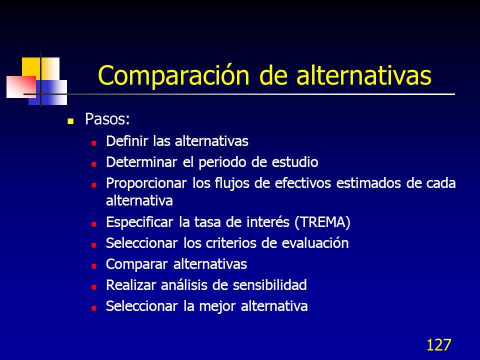 126 Comparación de alternativas La esencia de la evaluación económica es el flujo de efectivo descontado, considerando el costo del dinero Un proyecto