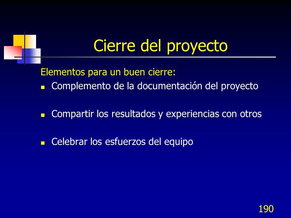 189 Cierre del proyecto Elementos para un buen cierre: Evaluación del trabajo del equipo Lista de lecciones clave aprendidas Revisión de las fortaleza
