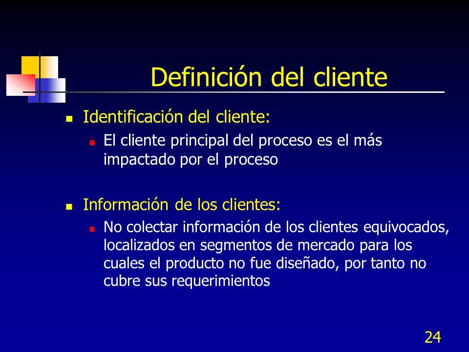23 Definición del cliente En términos simples, un cliente es el receptor de un producto o servicio.
