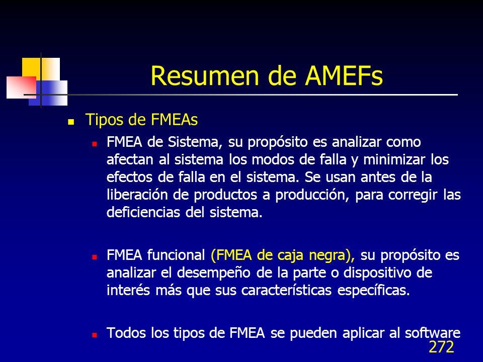 271 Resumen de AMEFs Tipos de FMEAs FMEA de Diseño, su propósito es analizar como afectan al sistema los modos de falla y minimizar los efectos de fal