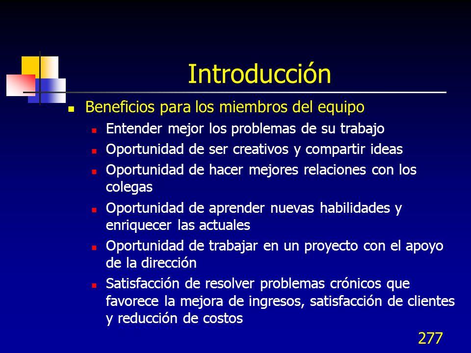 276 Introducción El estilo participativo de dirección asegura el involucramiento del personal en el proceso de mejora Beneficios de los equipos de tra