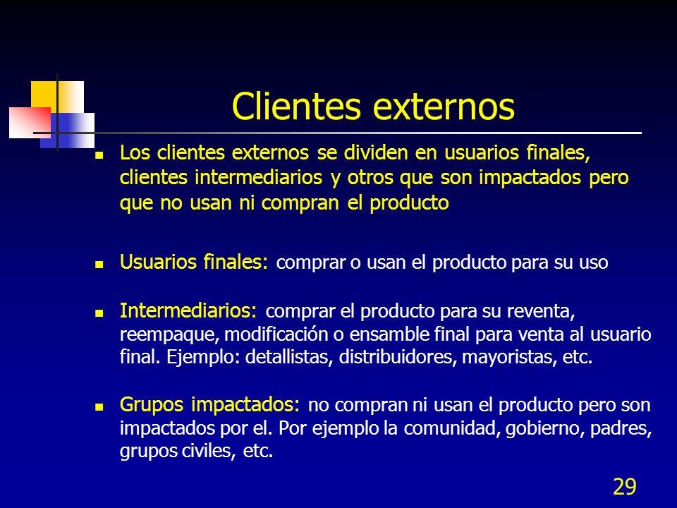 28 Clientes internos Es el personal interno afectado por el producto o servicio generado (siguiente operación) La comunicación interna con los emplead
