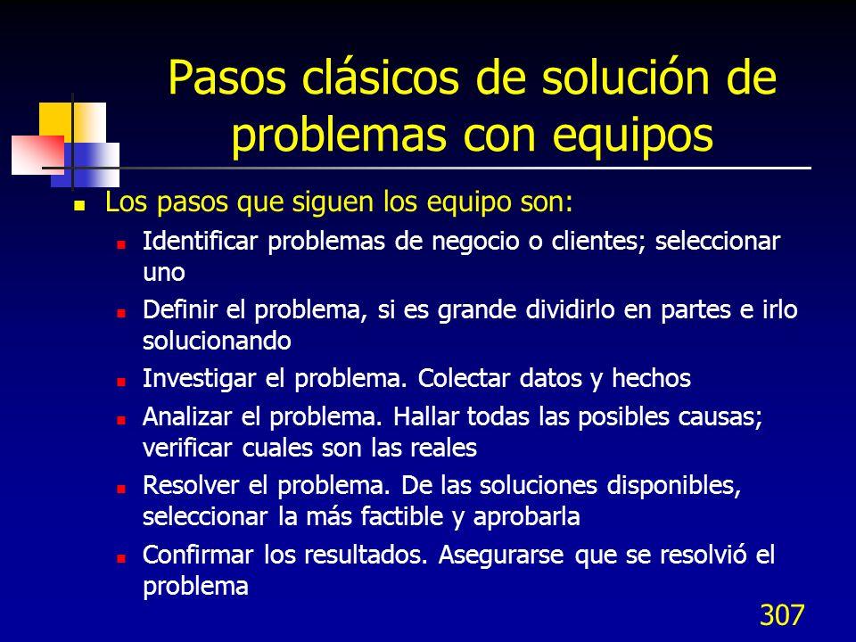 306 Proceso DMAIC - Pasos Mejorar el proceso seleccionado con soluciones creativas para corregir y prevenir la reincidencia de problemas Crear solucio