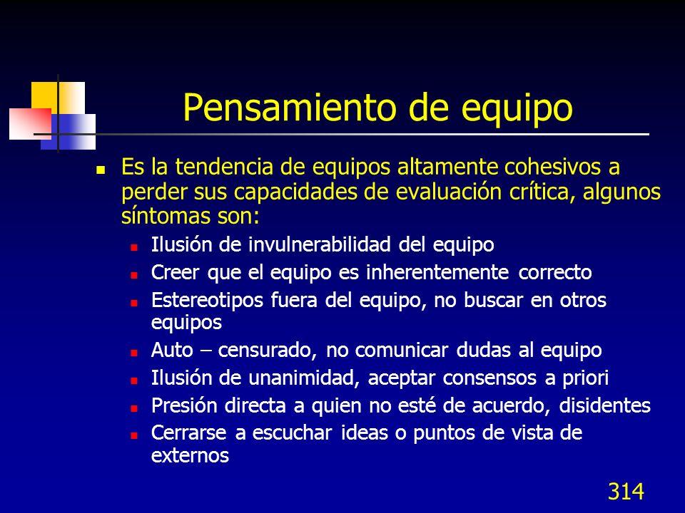 313 Problemas comunes en los equipos Problemas adicionales Soporte de la dirección menguado (pasivo, inexistente) Reportes de juntas inadecuados El eq
