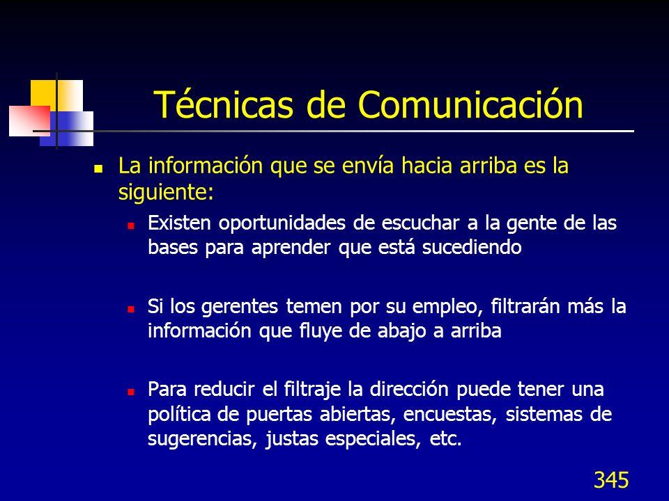 344 Técnicas de Comunicación La información que se envía hacia abajo por los gerentes es la siguiente: Instrucciones a subordinados Explicación del po