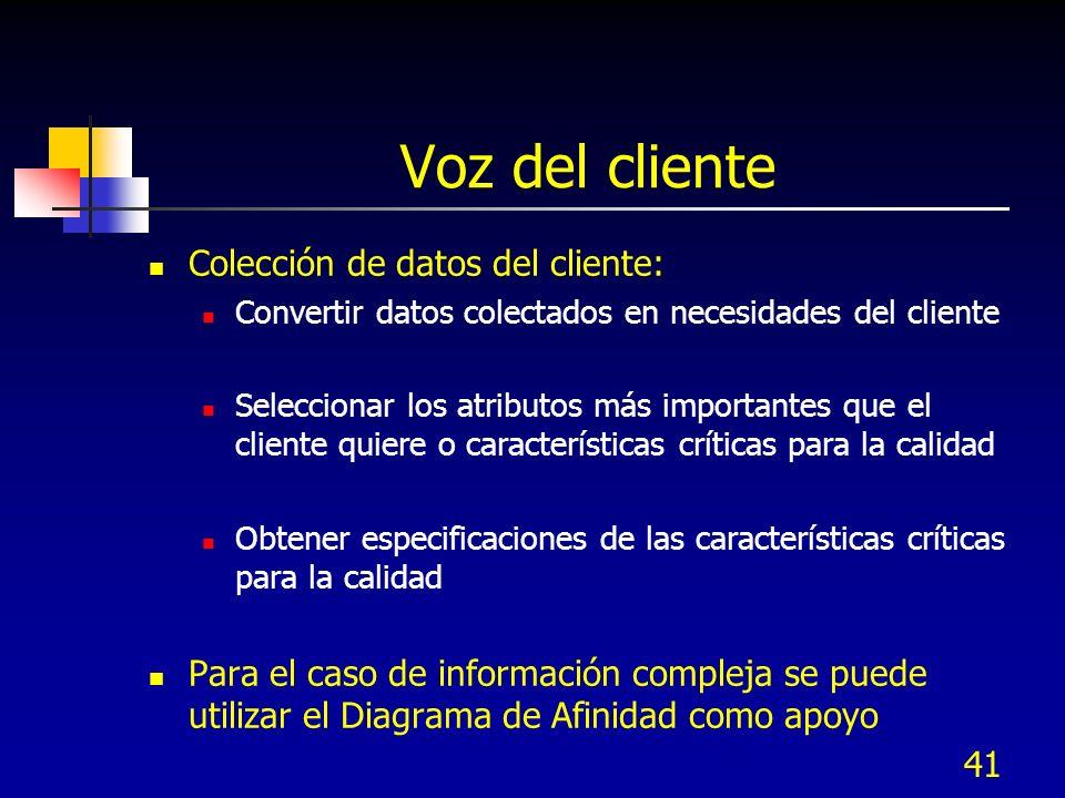 40 Voz del cliente Proceso para colectar información de la voz del cliente: Identificar a los clientes y sus necesidades Colectar y analizar datos rea
