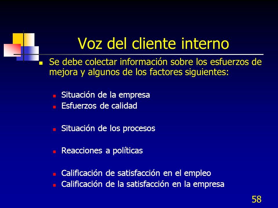 57 Colección de datos del cliente Cliente a Nivel de procesos Son clientes internos, del proceso siguiente, incluye también a proveedores Utilizan her