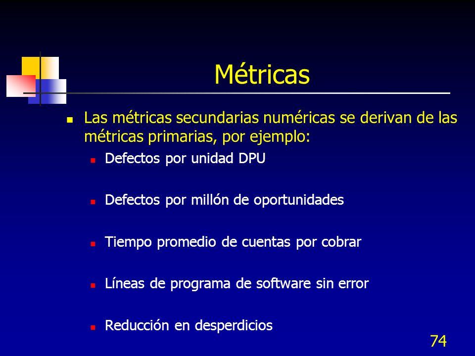 73 Métricas Las métricas detalladas se definen en la fase de medición, provienen de: Proveedores, procesos internos, clientes y definen la Calidad, ti
