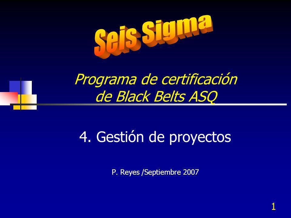 1 Programa de certificación de Black Belts ASQ 4. Gestión de proyectos P. Reyes /Septiembre 2007
