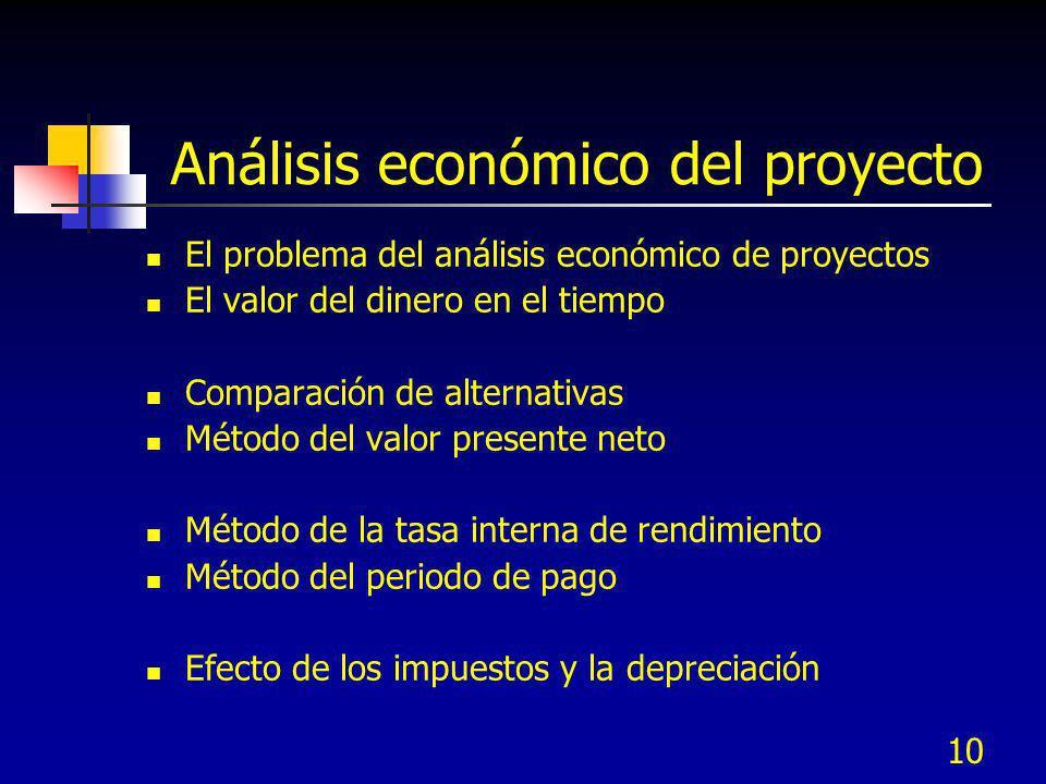 10 Análisis económico del proyecto El problema del análisis económico de proyectos El valor del dinero en el tiempo Comparación de alternativas Método