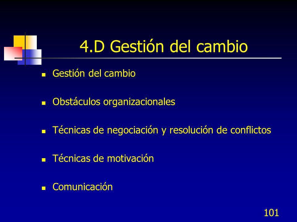101 4.D Gestión del cambio Gestión del cambio Obstáculos organizacionales Técnicas de negociación y resolución de conflictos Técnicas de motivación Co